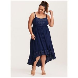 49b67f548f6 torrid Dresses - Torrid Embroidered Gauze Hi Low Maxi Dress